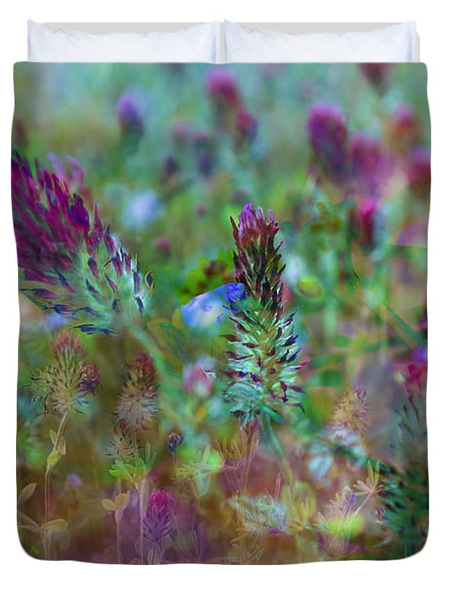 Clover Duvet Cover featuring the photograph Clover Field Impressions by Sheryl Karas