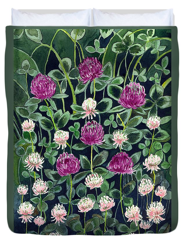 White Clover Duvet Cover featuring the painting Clover by Katherine Miller