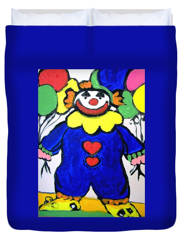 Clown Duvet Cover featuring the painting Clown For Jack by Judith Redman