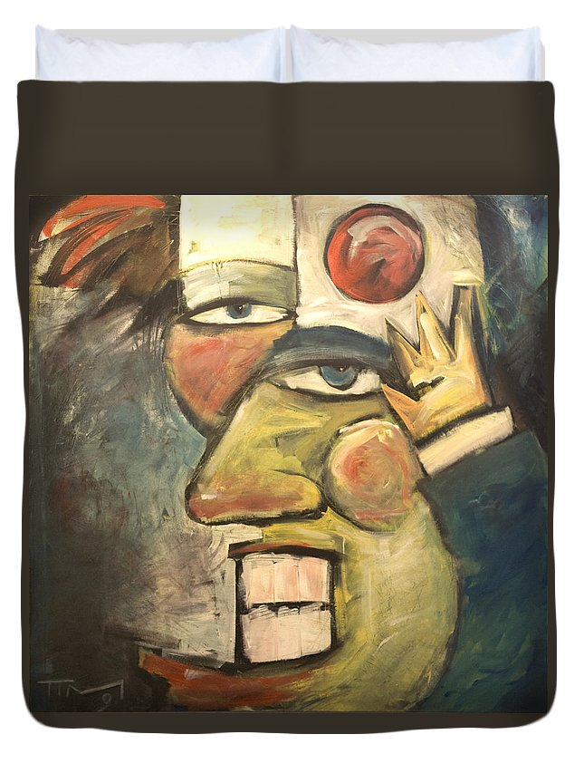 Clown Duvet Cover featuring the painting Clown Painting by Tim Nyberg