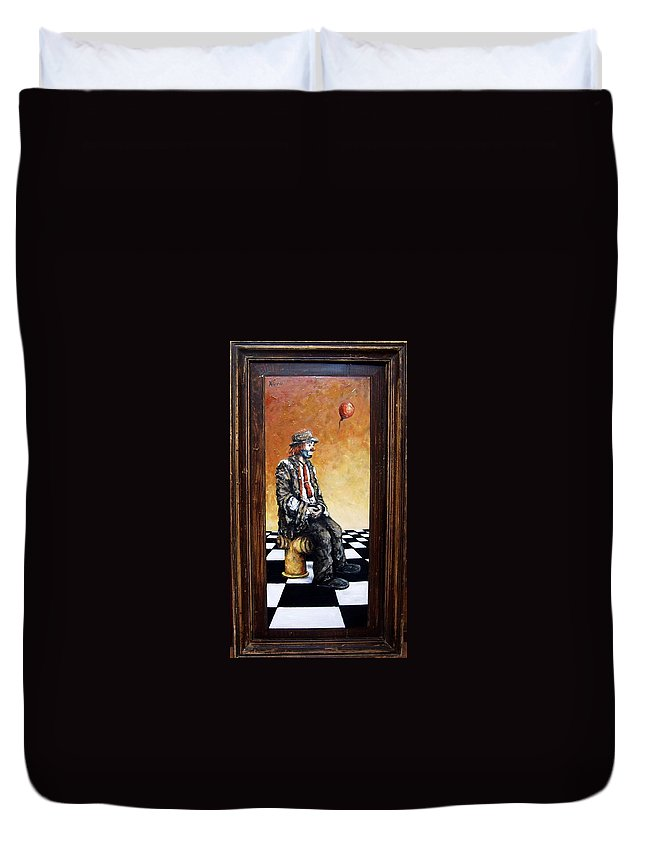 Clown Man Figurative Figure Human Surrealism Chess Emotion Duvet Cover featuring the painting Clown S Melancholy by Natalia Tejera
