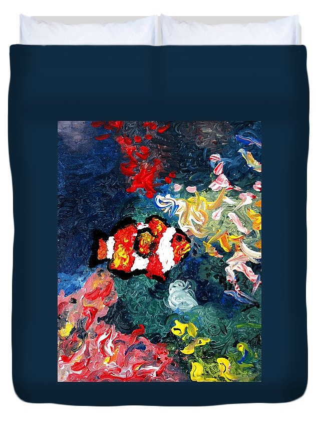 Fish Duvet Cover featuring the painting Clownfish by Luiza Vizoli