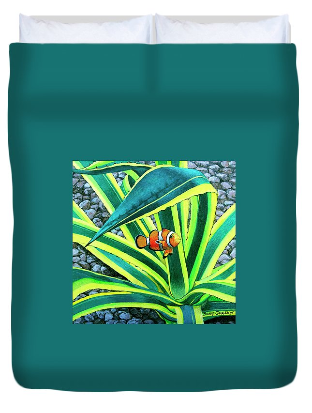 Fish Duvet Cover featuring the painting Clownfish by Snake Jagger