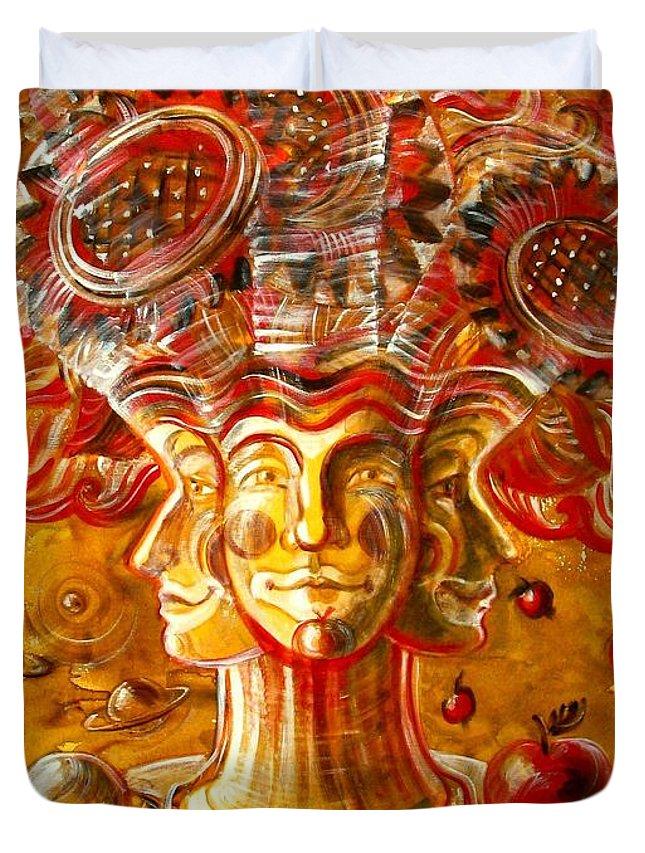 Inga Vereshchagina Duvet Cover featuring the painting Clowns With Sunflowers by Inga Vereshchagina