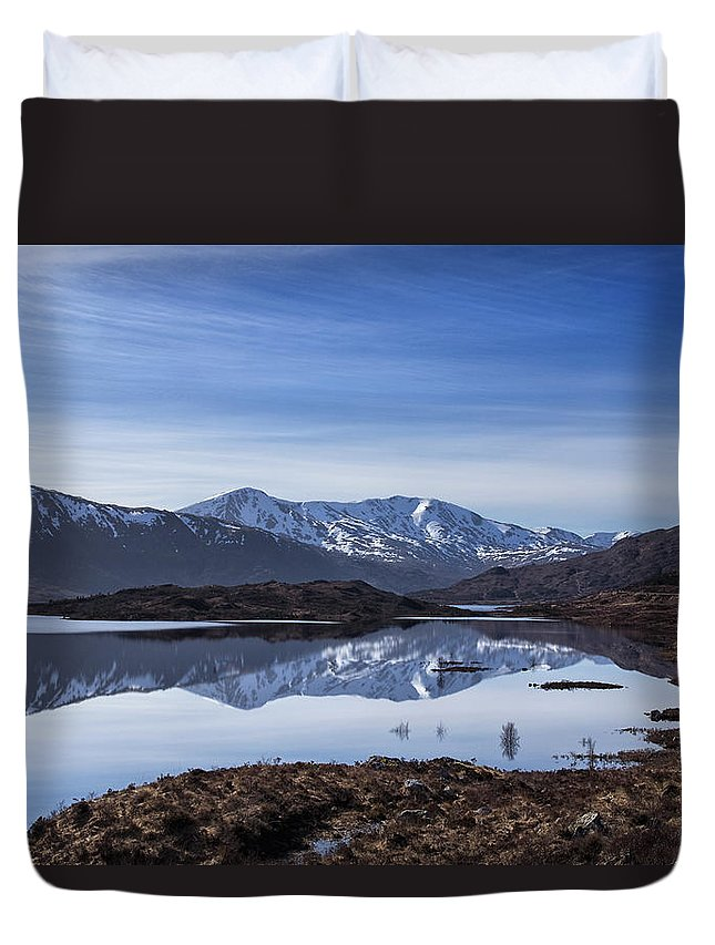 Loch Duvet Cover featuring the photograph Cluanie Dam by Jacqi Elmslie