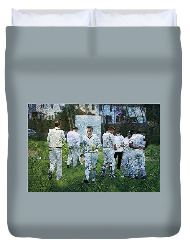 Sports Duvet Cover featuring the photograph Club Cricket Tea Break by Zahra Majid
