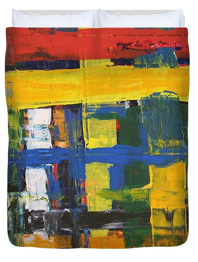 Red Duvet Cover featuring the painting Club House by Pam Roth O'Mara