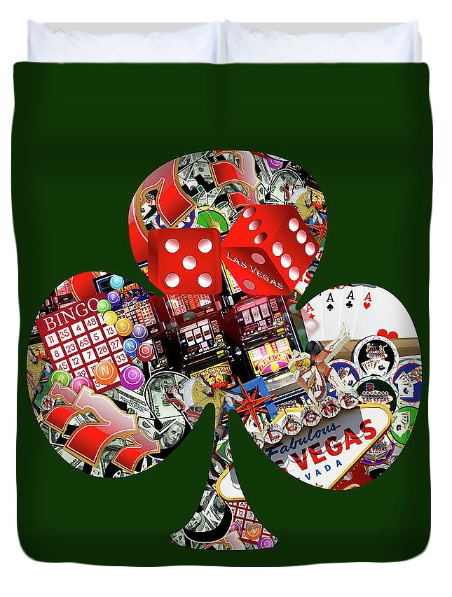 Casino Duvet Cover featuring the digital art Club Playing Card Shape by Gravityx9 Designs