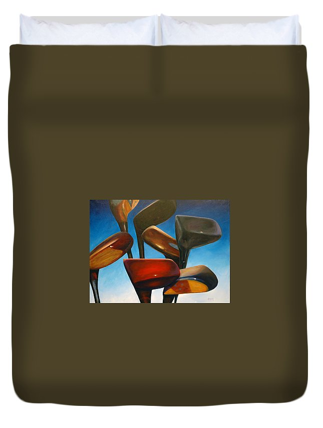 Golf Clubs Brown Duvet Cover featuring the painting Clubs Rising by Shannon Grissom