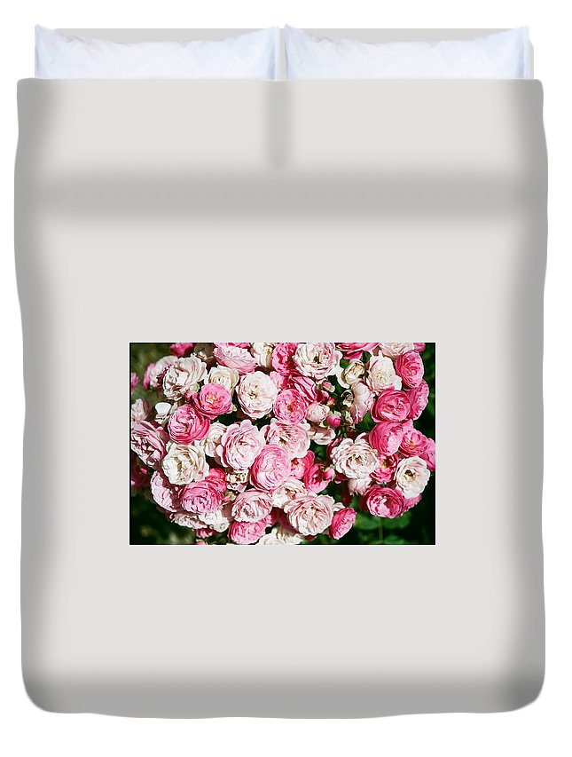 Rose Duvet Cover featuring the photograph Cluster Of Roses by Dean Triolo