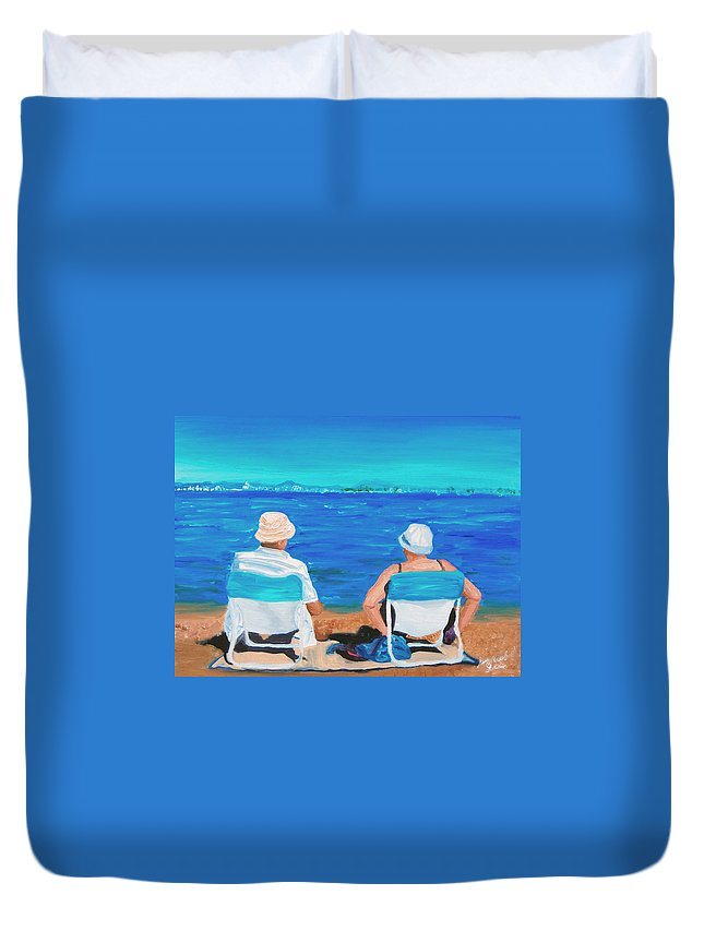 Beach Scene Duvet Cover featuring the painting Clyde And Elma At The Beach by Michael Lee