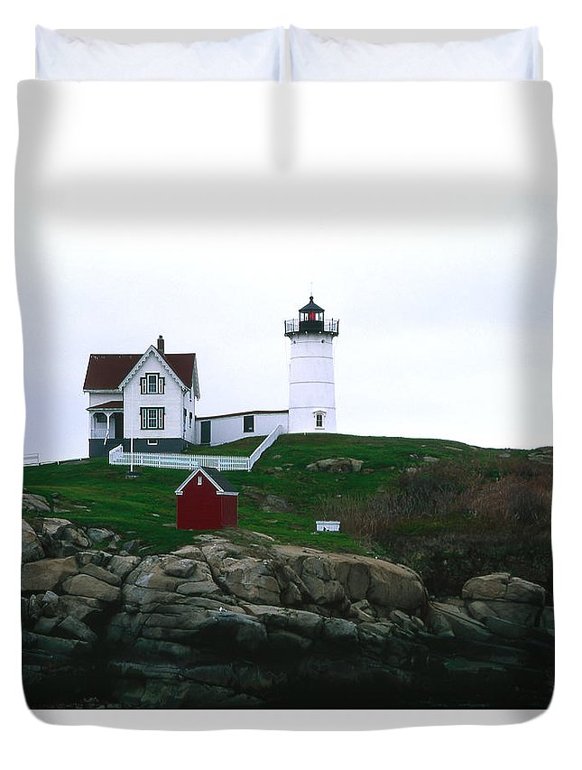 Landscape Lighthouse Nautical New England Nubble Light Cape Neddick Duvet Cover featuring the photograph Cnrf0502 by Henry Butz