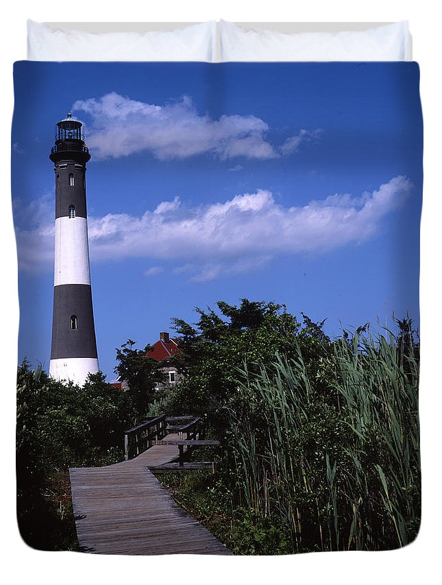 Landscape Lighthouse Fire Island Duvet Cover featuring the photograph Cnrf0702 by Henry Butz