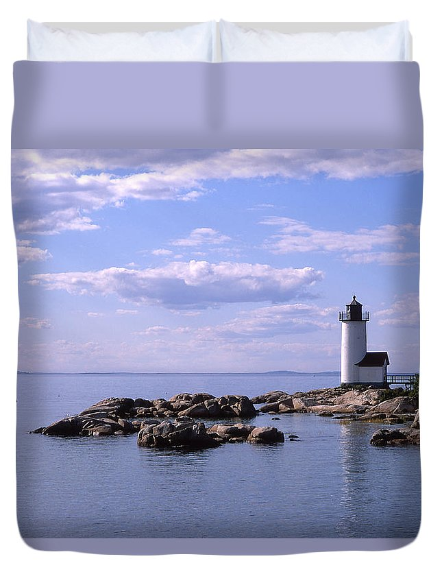 Landscape Lighthouse New England Nautical Duvet Cover featuring the photograph Cnrf0901 by Henry Butz