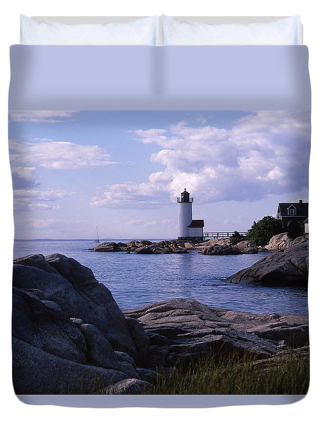 Landscape Lighthouse New England Annisquam Harbor Light Gloucester Duvet Cover featuring the photograph Cnrf0903 by Henry Butz