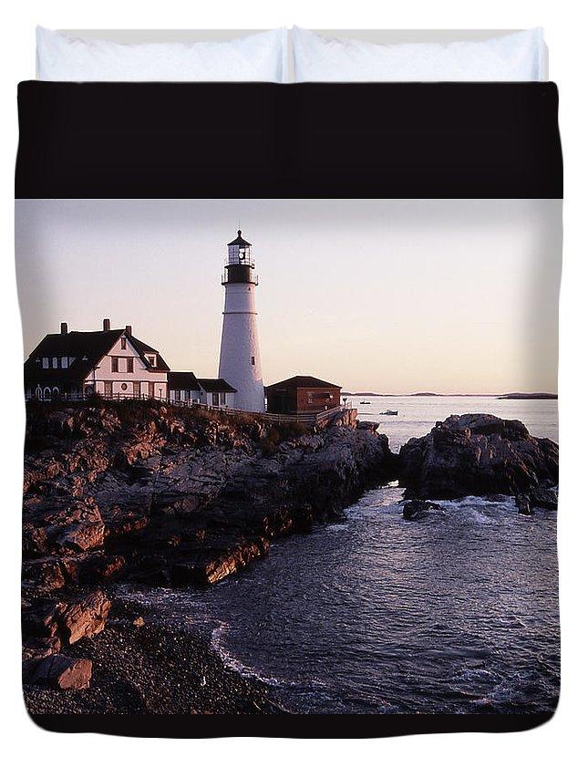 Landscape Lighthouse Nautical New England Portland Head Light Cape Elizabeth Duvet Cover featuring the photograph Cnrf0905 by Henry Butz