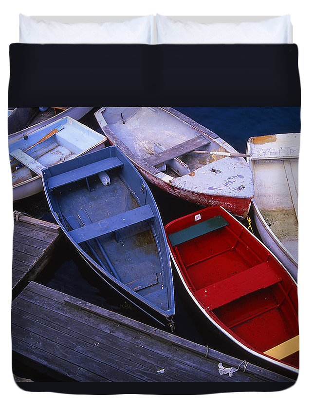 Landscape New England Boat Fishing Nautical Coast Duvet Cover featuring the photograph Cnrf0906 by Henry Butz