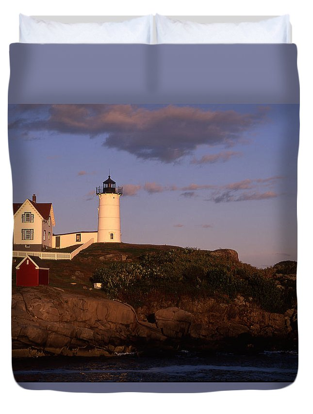 Landscape New England Lighthouse Nautical Coast Duvet Cover featuring the photograph Cnrf0908 by Henry Butz