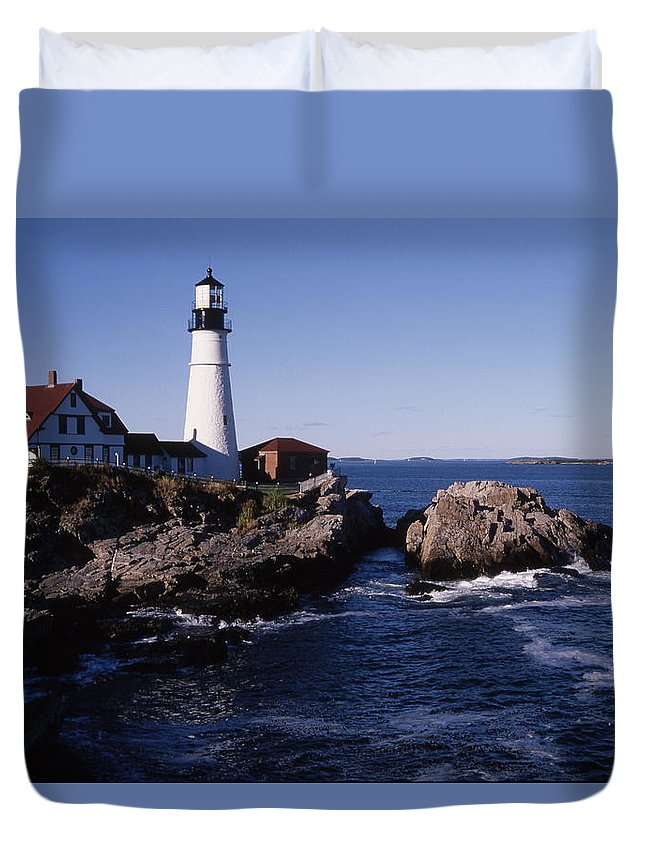 Landscape New England Lighthouse Nautical Coast Duvet Cover featuring the photograph Cnrf0910 by Henry Butz
