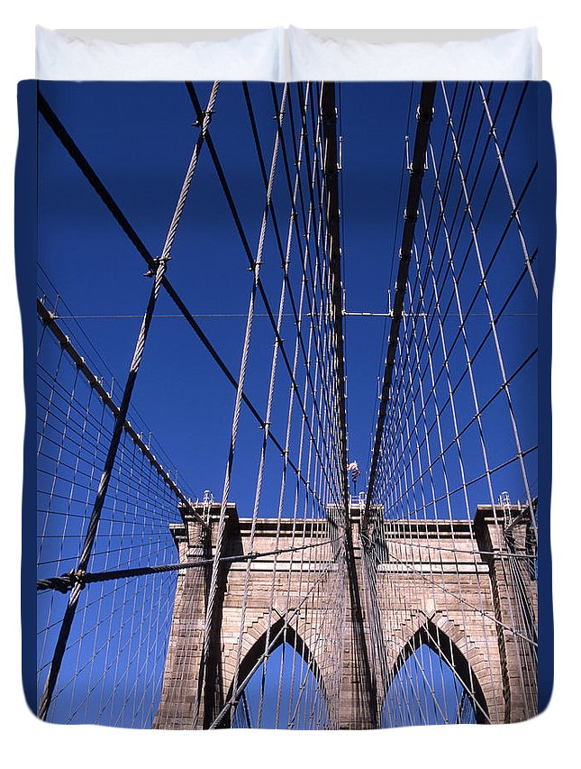 Landscape Brooklyn Bridge New York City Duvet Cover featuring the photograph Cnrg0407 by Henry Butz