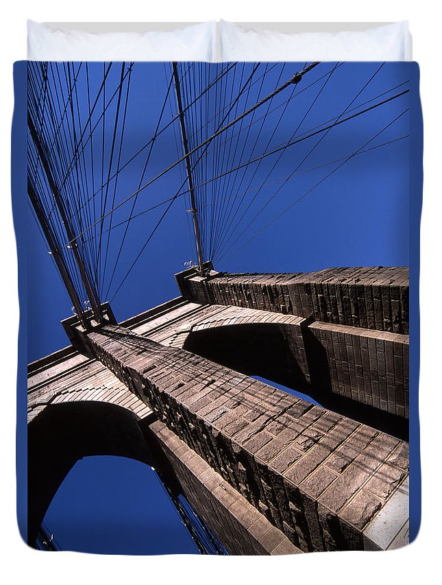 Landscape Brooklyn Bridge New York City Duvet Cover featuring the photograph Cnrg0408 by Henry Butz