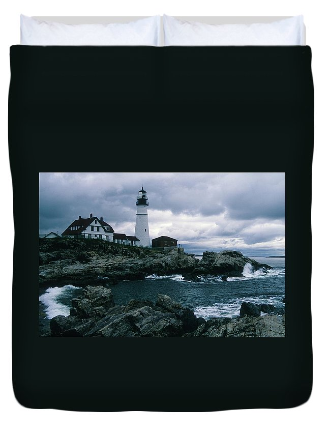 Landscape New England Lighthouse Nautical Storm Coast Duvet Cover featuring the photograph Cnrg0601 by Henry Butz
