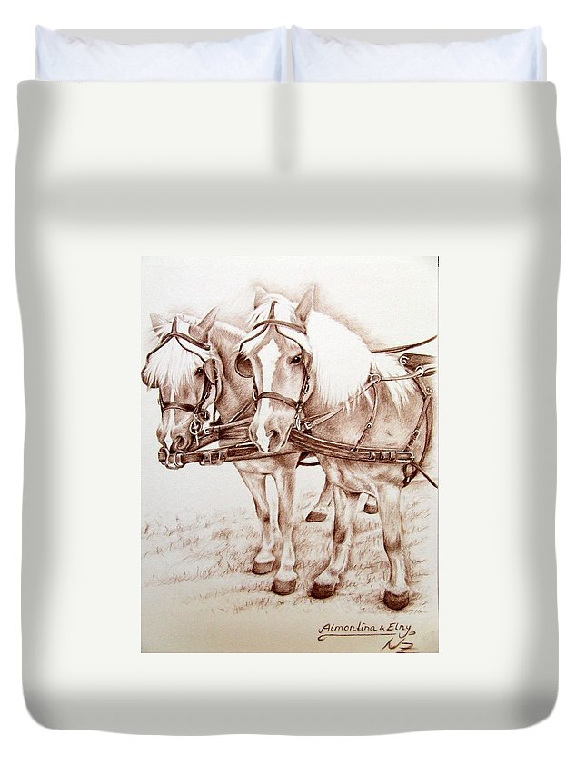Horses Duvet Cover featuring the drawing Coach Horses by Nicole Zeug
