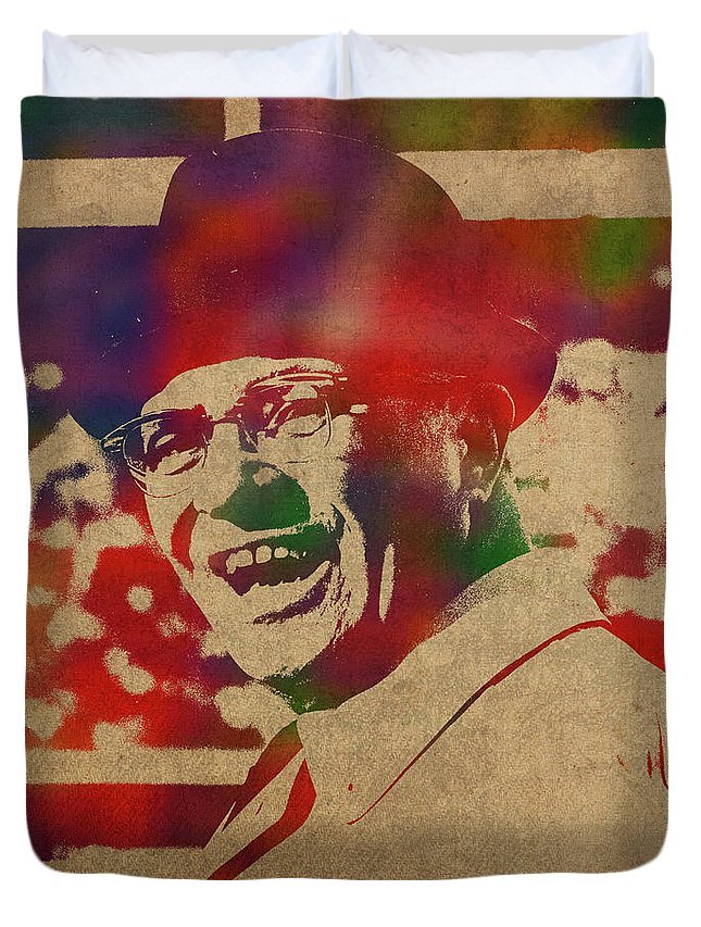 Coach Duvet Cover featuring the mixed media Coach Vince Lombardi Watercolor Portrait by Design Turnpike