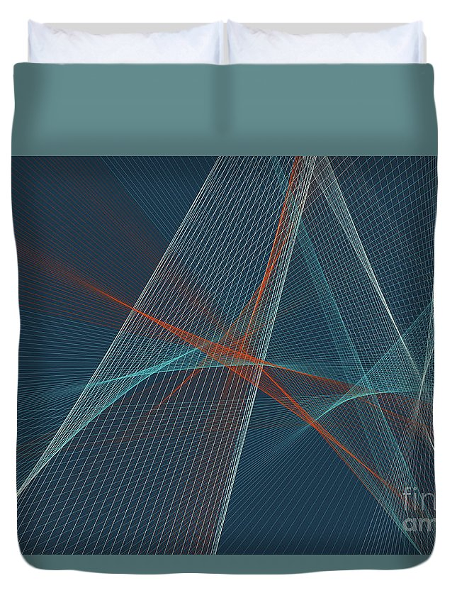 Abstract Duvet Cover featuring the digital art Coast Computer Graphic Line Pattern by Frank Ramspott