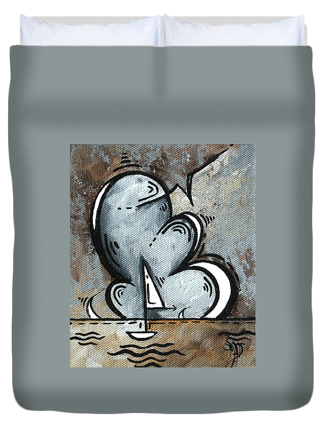 Coastal Duvet Cover featuring the painting Coastal Art Contemporary Sailboat Painting Whimsical Design Silver Sea II By Madart by Megan Duncanson