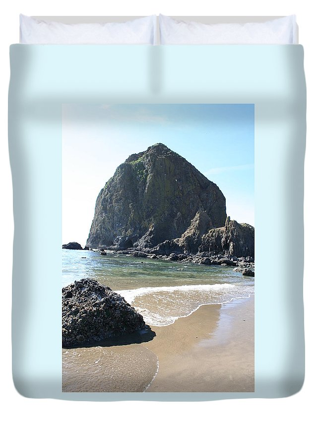 Coastal Landscape Duvet Cover featuring the photograph Coastal Landscape - Cannon Beach Afternoon - Scenic Lanscape by Quin Sweetman