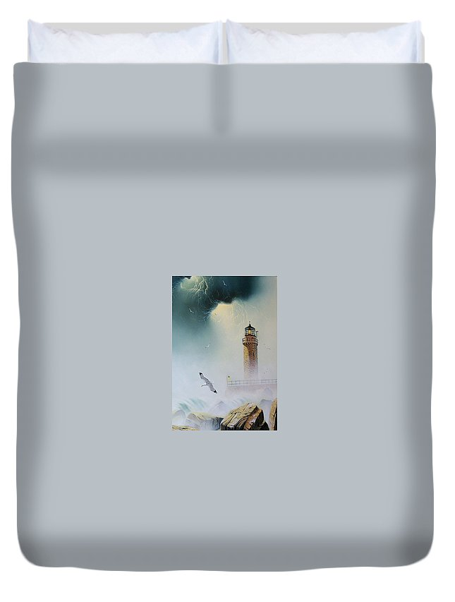 Lighthouse Duvet Cover featuring the painting Coastal Light by Don Griffiths