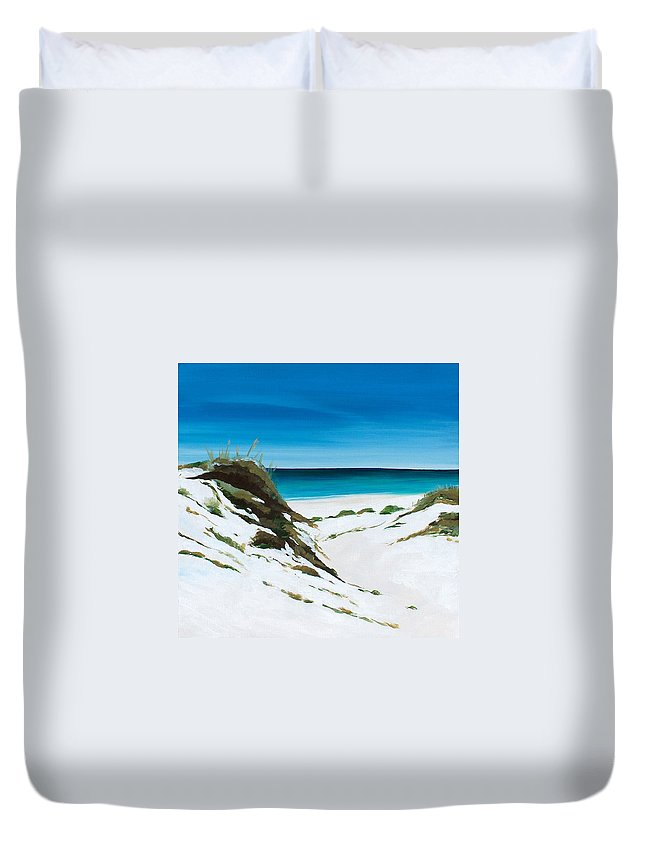 Dunes Duvet Cover featuring the painting Coastal Treasure by Racquel Morgan