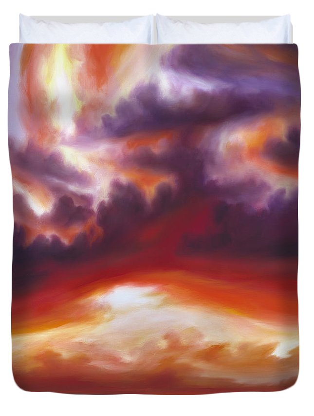 Skyscape Duvet Cover featuring the painting Coastline by James Christopher Hill
