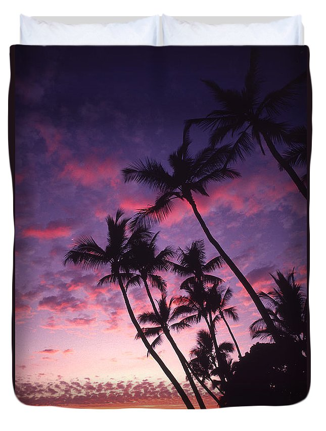 Boat Duvet Cover featuring the photograph Coastline Palms by Ron Dahlquist - Printscapes