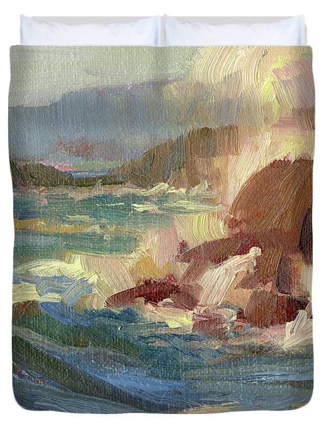 Coast Duvet Cover featuring the painting Coastline by Steve Henderson
