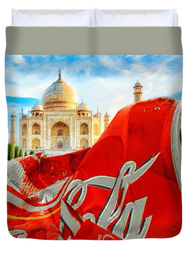 Coca-cola Duvet Cover featuring the painting Coca-cola Can Trash Oh Yeah - And The Taj Mahal by Tony Rubino