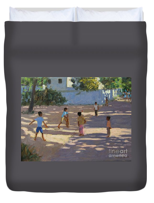 Indian Landscape Duvet Cover featuring the painting Cochin by Andrew Macara