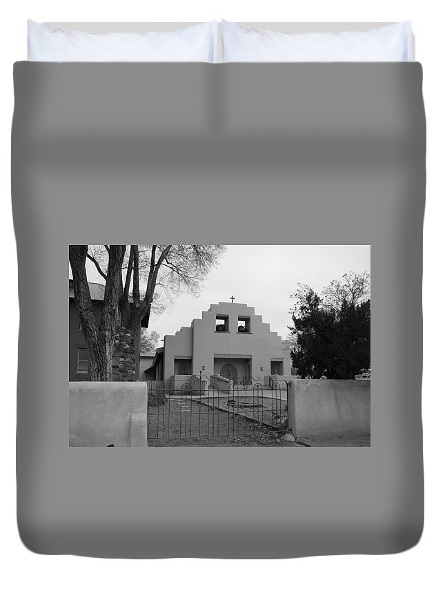 Architecture Duvet Cover featuring the photograph Cochiti Church by Rob Hans