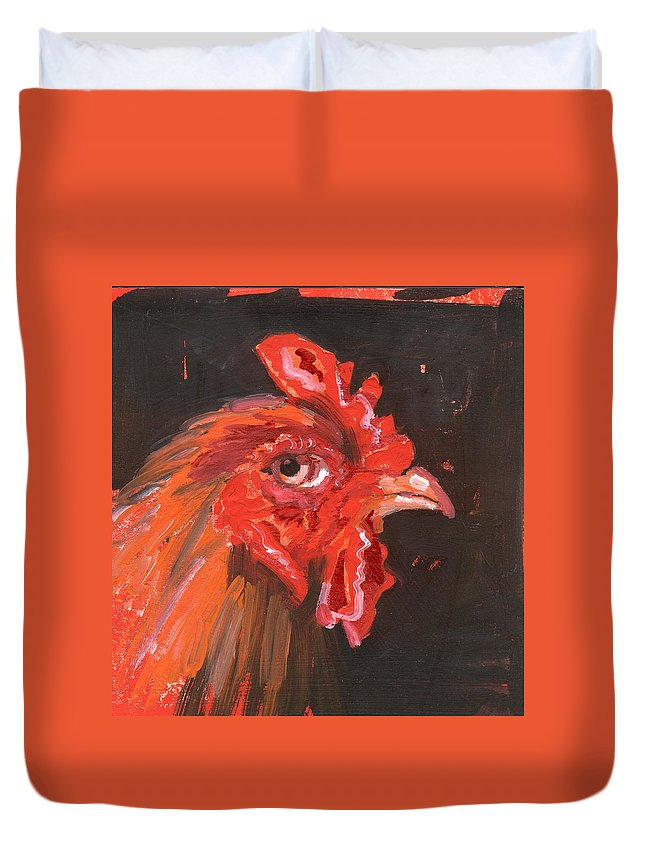 Animal Face Duvet Cover featuring the painting Cock by Katia Weyher