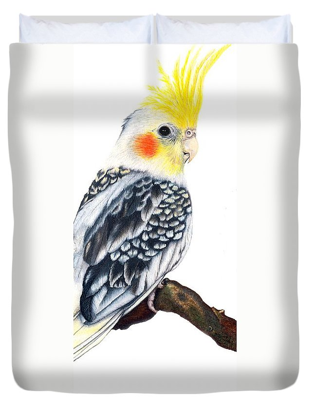 Cockatiel Duvet Cover featuring the drawing Cockatiel 2 by Kristen Wesch