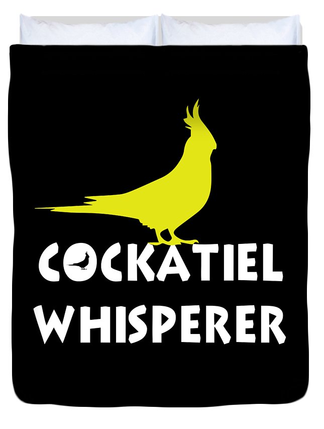 Cockatiel Duvet Cover featuring the digital art Cockatiel Whisperer by Funny4You