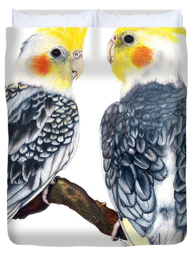 Cockatiel Duvet Cover featuring the drawing Cockatiels by Kristen Wesch