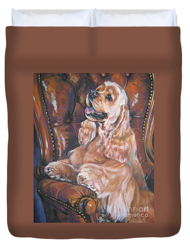 Dog Duvet Cover featuring the painting Cocker Spaniel On Chair by Lee Ann Shepard