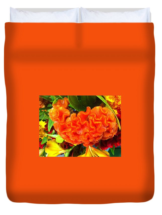Flower Duvet Cover featuring the photograph Cockscomb by Kimberly Mohlenhoff