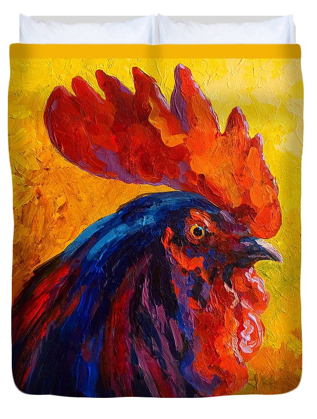 Rooster Duvet Cover featuring the painting Cocky - Rooster by Marion Rose