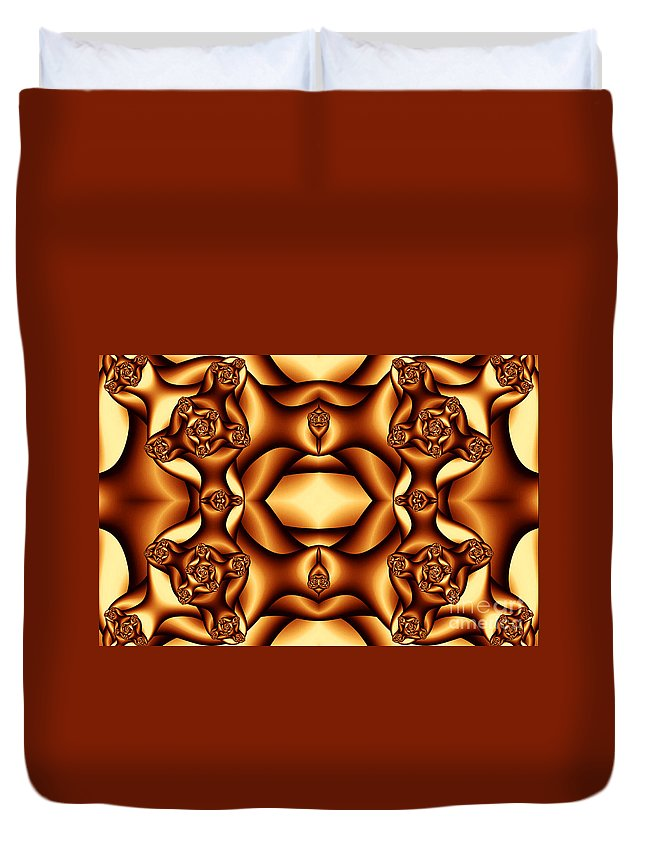 Clay Duvet Cover featuring the digital art Cocoa Fractal Roses by Clayton Bruster
