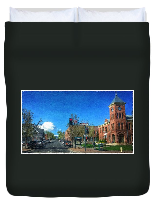 Flagstaff Duvet Cover featuring the photograph Coconino County Courthouse by Jim Thomas