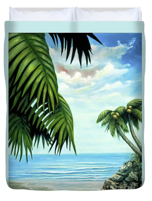 Beverly-fuqua Artwork Duvet Cover featuring the painting Coconut Cove by Beverly Fuqua