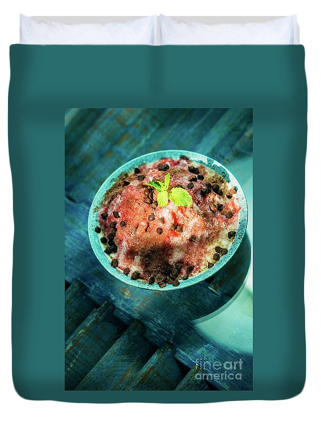 Asian Duvet Cover featuring the photograph Coconut Milk Sorbet With Strawberry Sauce Vanilla Ice Cream by Jacek Malipan